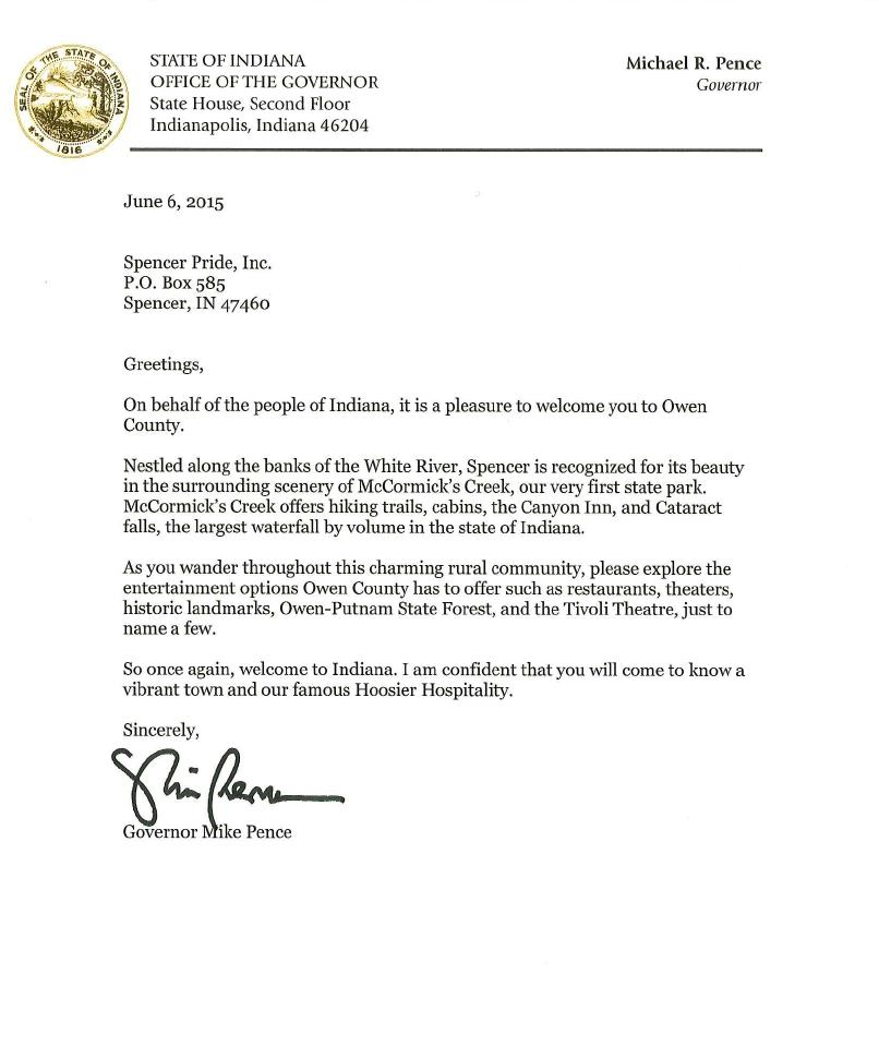 Governor Pence's Letter to 2015 Spencer Pride Festival Attendees